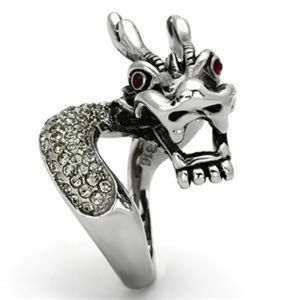 Stainless Steel Crystal Dragon Ring